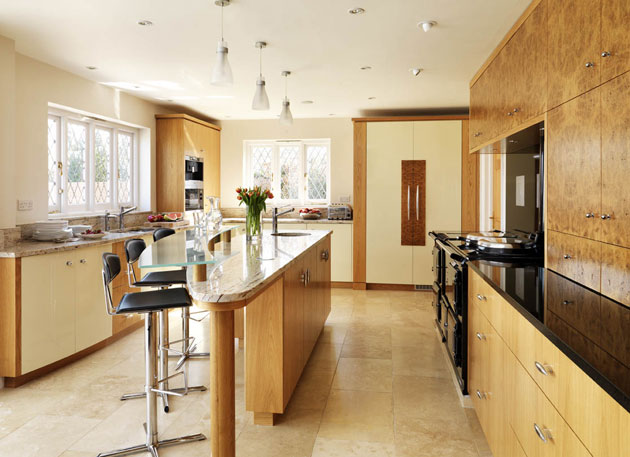 Design column luxury kitchen design modern bespoke english - oak